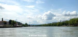 Ein Blick auf den Saône von der Île Barbe, Lyon