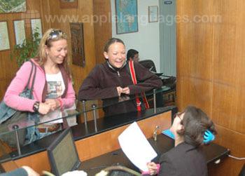 School reception area