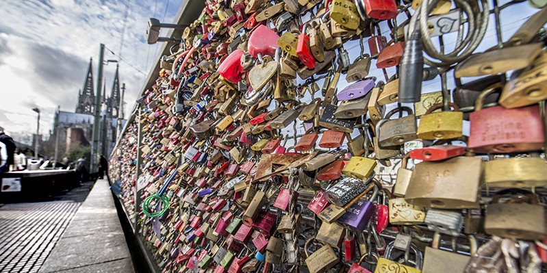 Schlösser der Liebe an der Hohenzollernbrücke