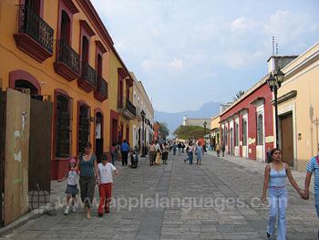 A typical street in Oaxaca
