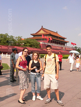 Students visiting the Forbidden City