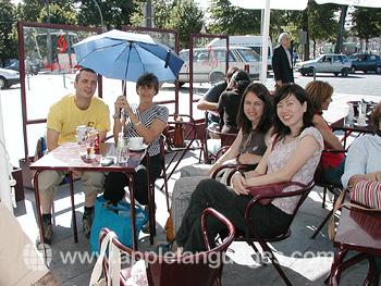 Students enjoying cafe life