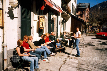Students relaxing in the sun