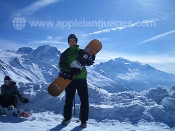 Snowboarding after class