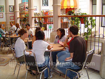 Students in school patio