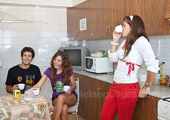 Students in shared apartment