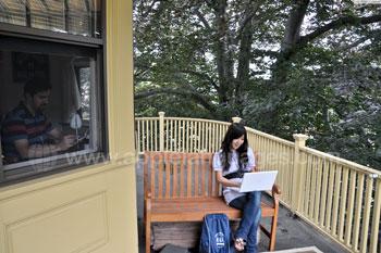 Student on balcony - Host Family