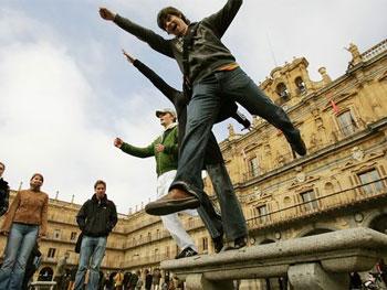Spass haben auf dem Plaza Mayor