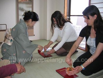 Taking part in the tea ceremony
