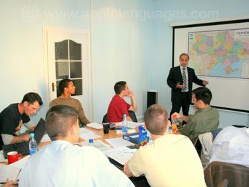 A guest speaker talks to a class