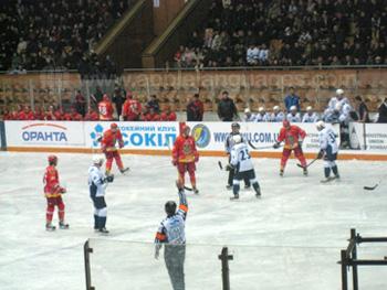 Watching an ice hockey game