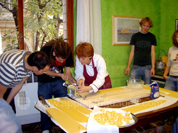 Making pasta on the Italian Cookery course