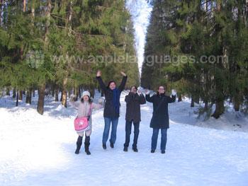 Schüler auf Exkursion zur Winterzeit