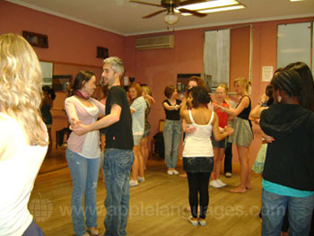 Students learning to dance