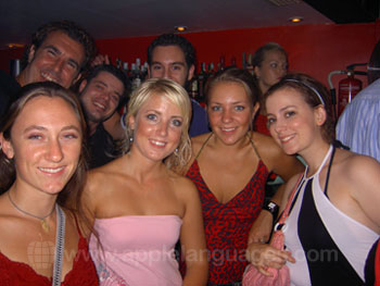Students enjoying an evening out