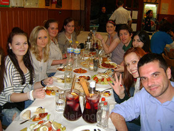 Students enjoying a meal together