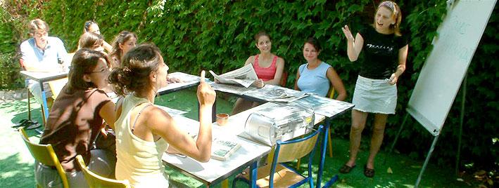 Französischunterricht im Freien in Antibes
