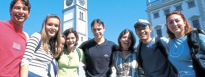 Sprachschüler im Augsburger Stadtzentrum