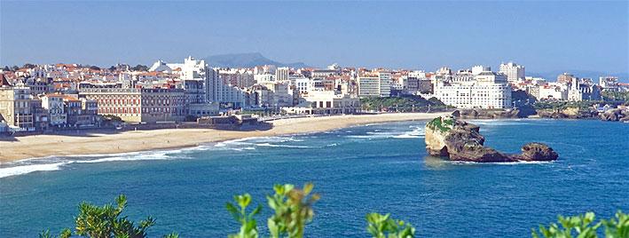 Blick auf den Strand in Biarritz