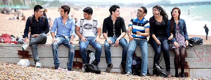 Sprachschüler am Strand in Brighton