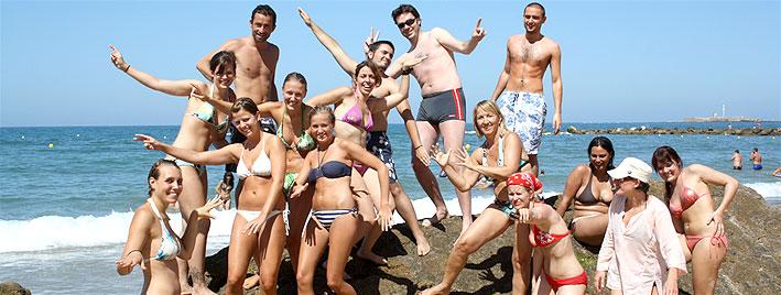 Schüler am Strand, Cadiz