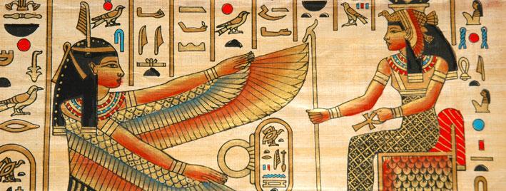 Farbenfrohes ägyptisches Papyrus