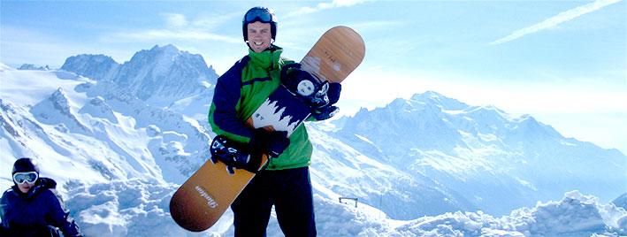 Snowboarden in Chamonix