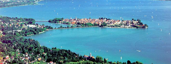 Luftbild der Insel Lindau