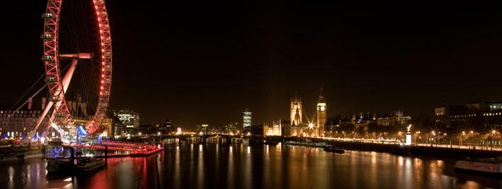 London Eye, Themse und Parlament bei Nacht