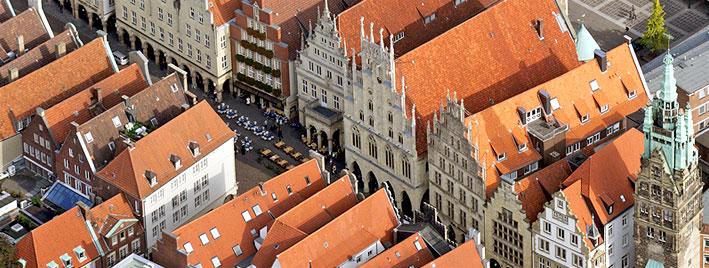Luftbild vom Zentrum Münsters