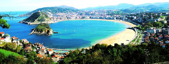 Luftbild der Concha Bucht, San Sebastian