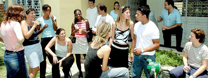 Sprachschüler vor unserer Spanischschule in Santo Domingo