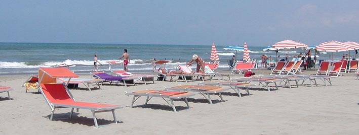 Strand in Viareggio, Italien