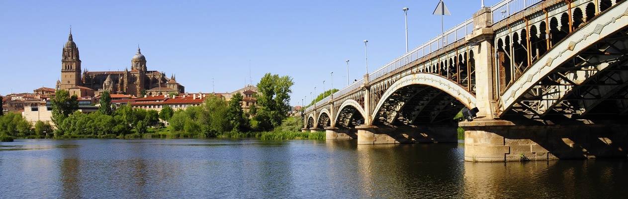 Neue Kathedrale von Salamanca und Enrique Estevan Brücke