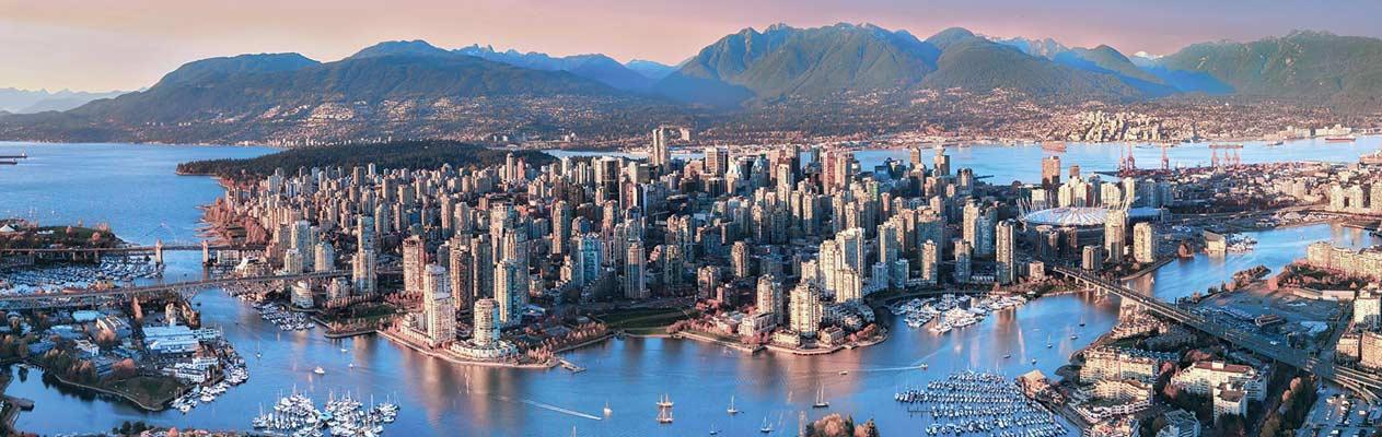 Der Sonnenuntergang in Vancouver, Kanada